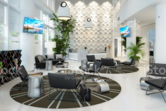Waiting lounge with counter - 3d visualization, own artwork on screens