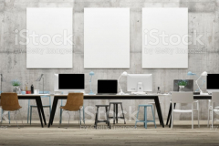 Dream work space office, three mock up poster on concrete wall, 3d illustration